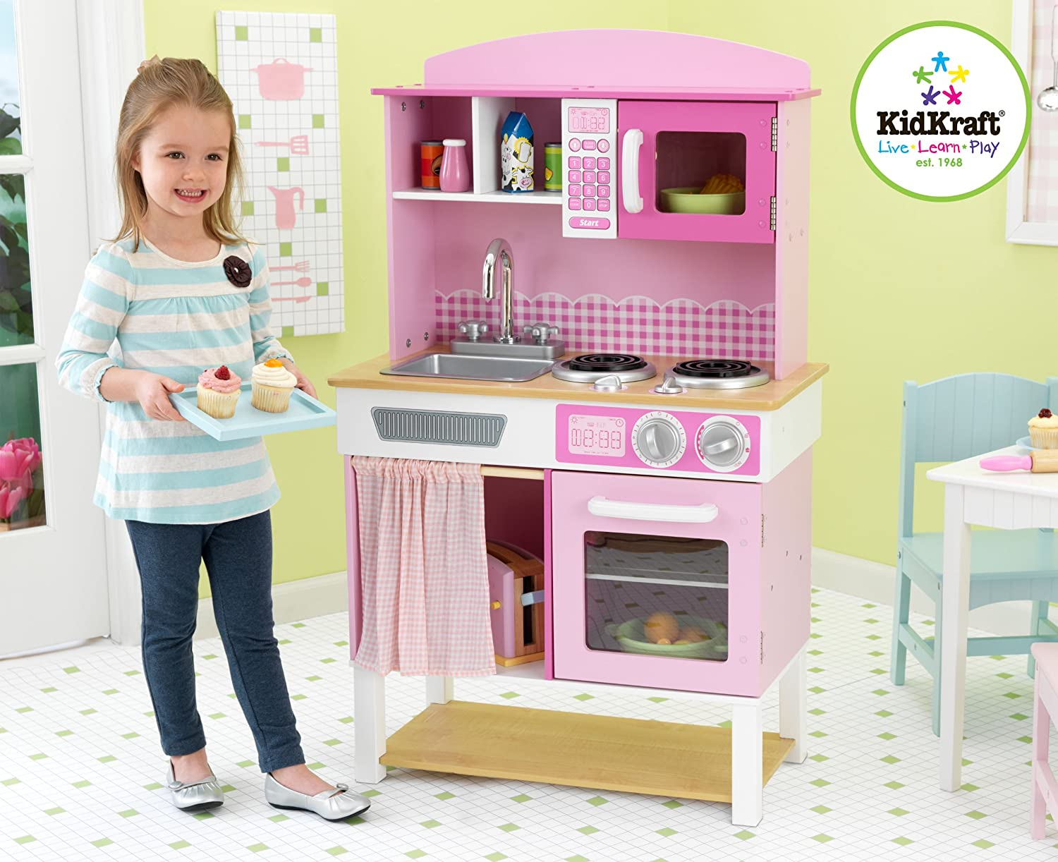 Amazon.com: KidKraft Home Cookinu0027 Pink Wooden Kitchen Play Set: Toys U0026 Games
