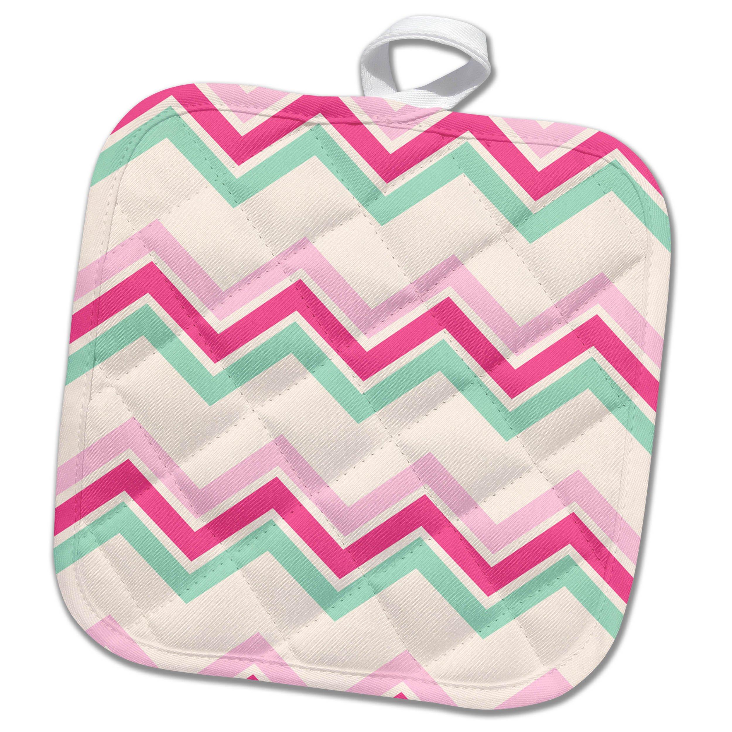 3dRose Anne Marie Baugh - Pattern - Pink, Mint Green, and White Chevron Stripes - 8x8 Potholder (phl_267457_1)