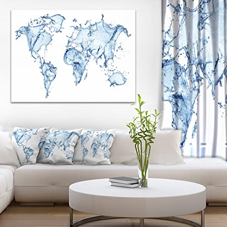 Amazon world map water splash abstract map canvas art print world map water splash abstract map canvas art print gumiabroncs Images