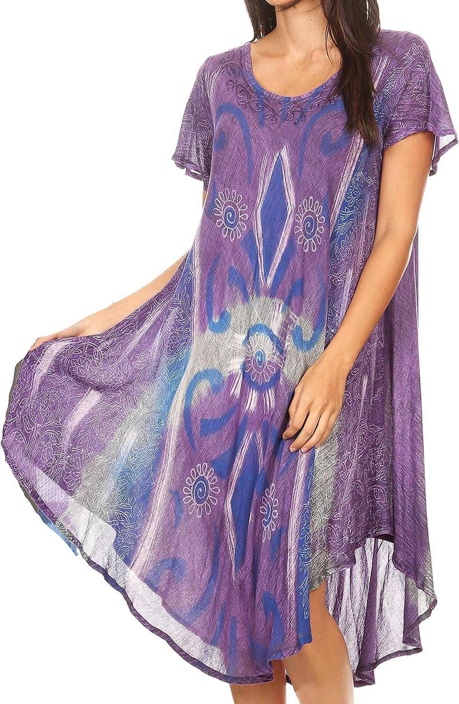 Sakkas Dalila Womens Midi A-line Short Sleeve Boho Swing Dress Cover-up Nightgown