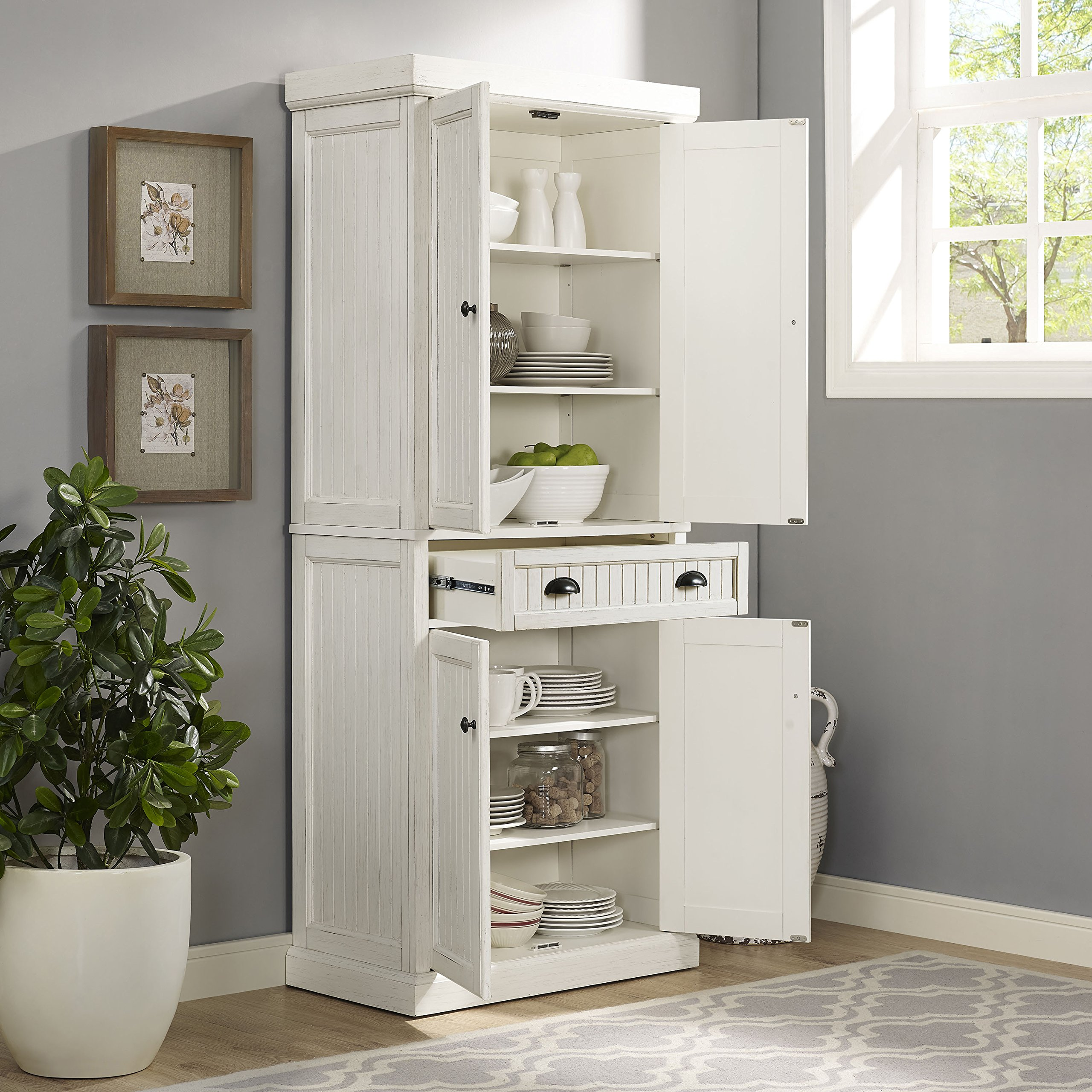 Crosley Furniture Seaside Kitchen Pantry Cabinet - Distressed White by Crosley Furniture (Image #6)