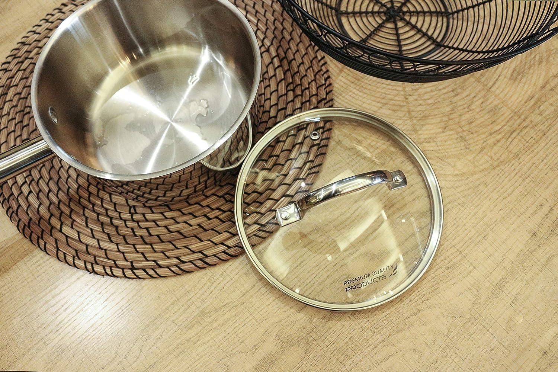 6.87 Quart Vistart Classsic Cookware Stainless Steel Stockpot Nonstick with Glass Lid