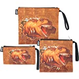 QOGiR Reusable Snack Bags and Sandwich Bags with Handle: Lead-free,BPA-free,PVC-free,FDA PASSED (Brown Dinosaur)