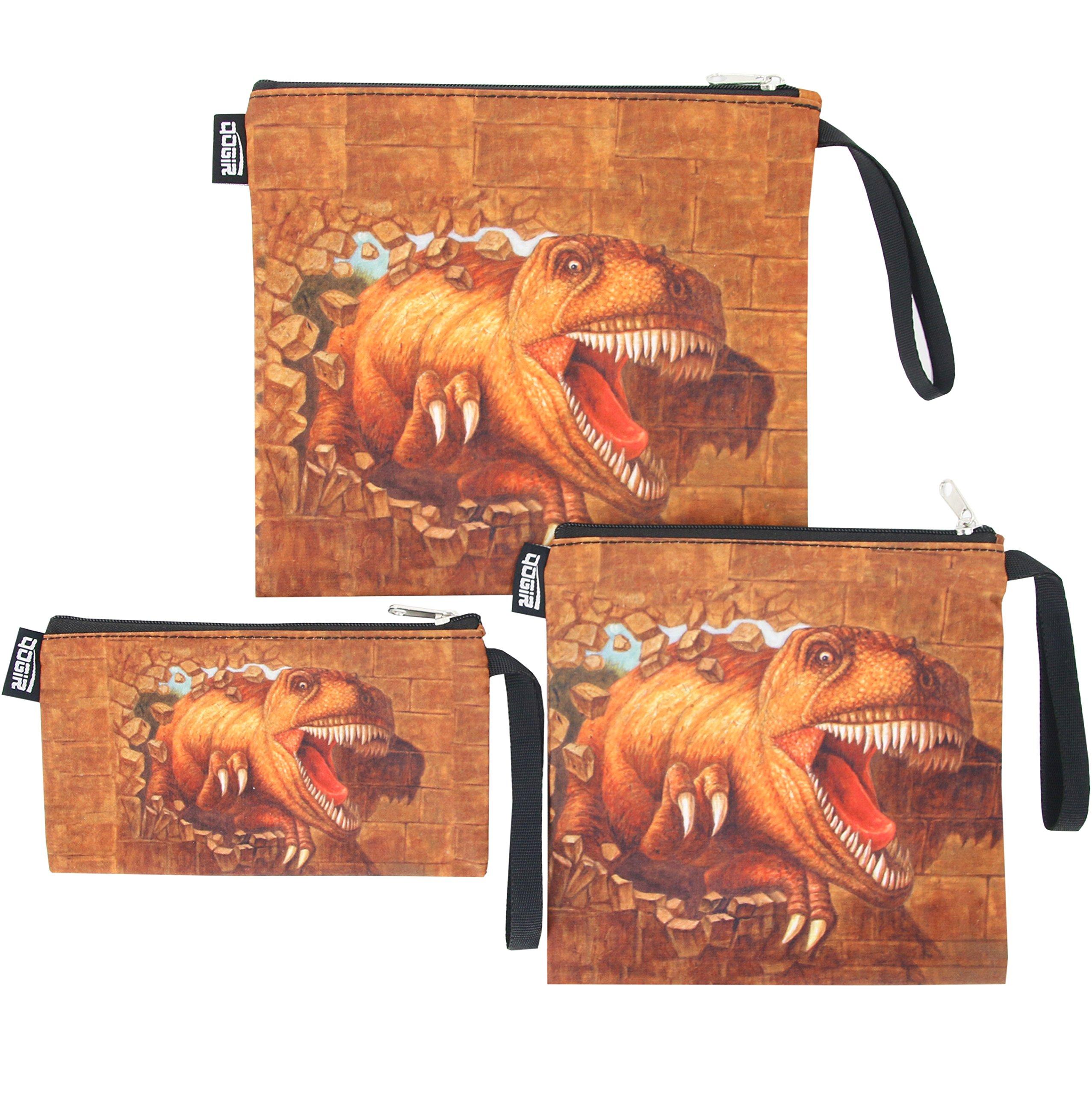 QOGiR Reusable Snack Bags Sandwich Bags Handle: Lead-free,BPA-free,PVC-free,FDA PASSED (Brown Dinosaur)