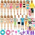 SOTOGO 83 Pieces Doll Clothes and Accessories for Barbie Ken Dolls Beach Playset Include 18 Set Handmade Bikini Swimsuit Swimming Trunks,18 Pairs Shoes and 10 Pieces Diving Swimming Toys Accessories