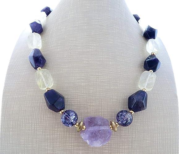 2db6b7a6e80c Collar de amatista viola y cuarzo amarillo limón