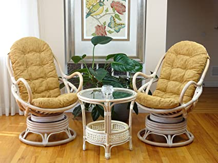 Pleasing Amazon Com 3 Pc Java Swivel Rocking Chair Natural Handmade Cjindustries Chair Design For Home Cjindustriesco