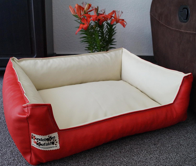 Similpelle Dog Sofa Imitation Leather 105 cm X 80 cm Red   Cream