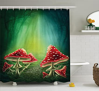 Large Red Christmas Ball Shower Curtain White Snowflakes Abstract Nature Scene Reindeer Tree Home Office