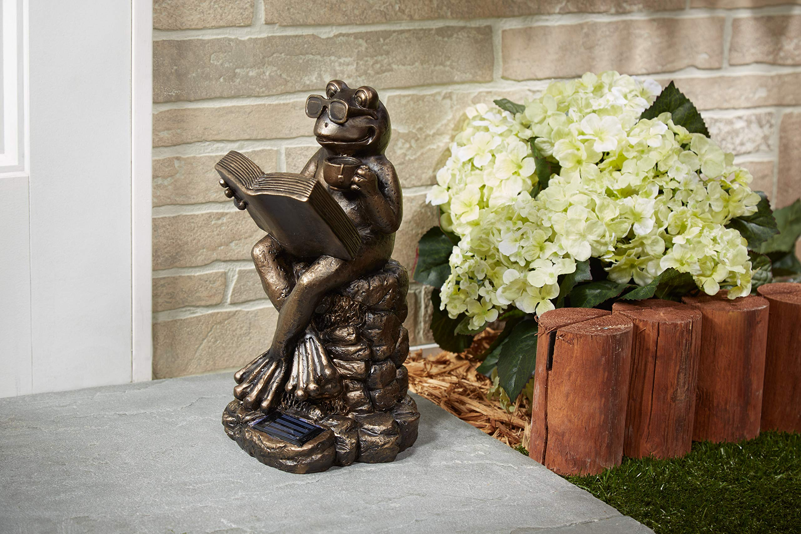 Smart Solar 3647WRM1 Solar Frog Light Statue, Brown