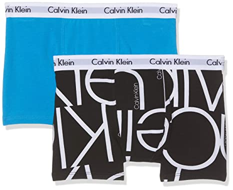bd5ccc87235 Calvin Klein Boy's 2pk Trunks Boxer Briefs, Black  (1Oversizedblacklg/1Cloisonne 046),