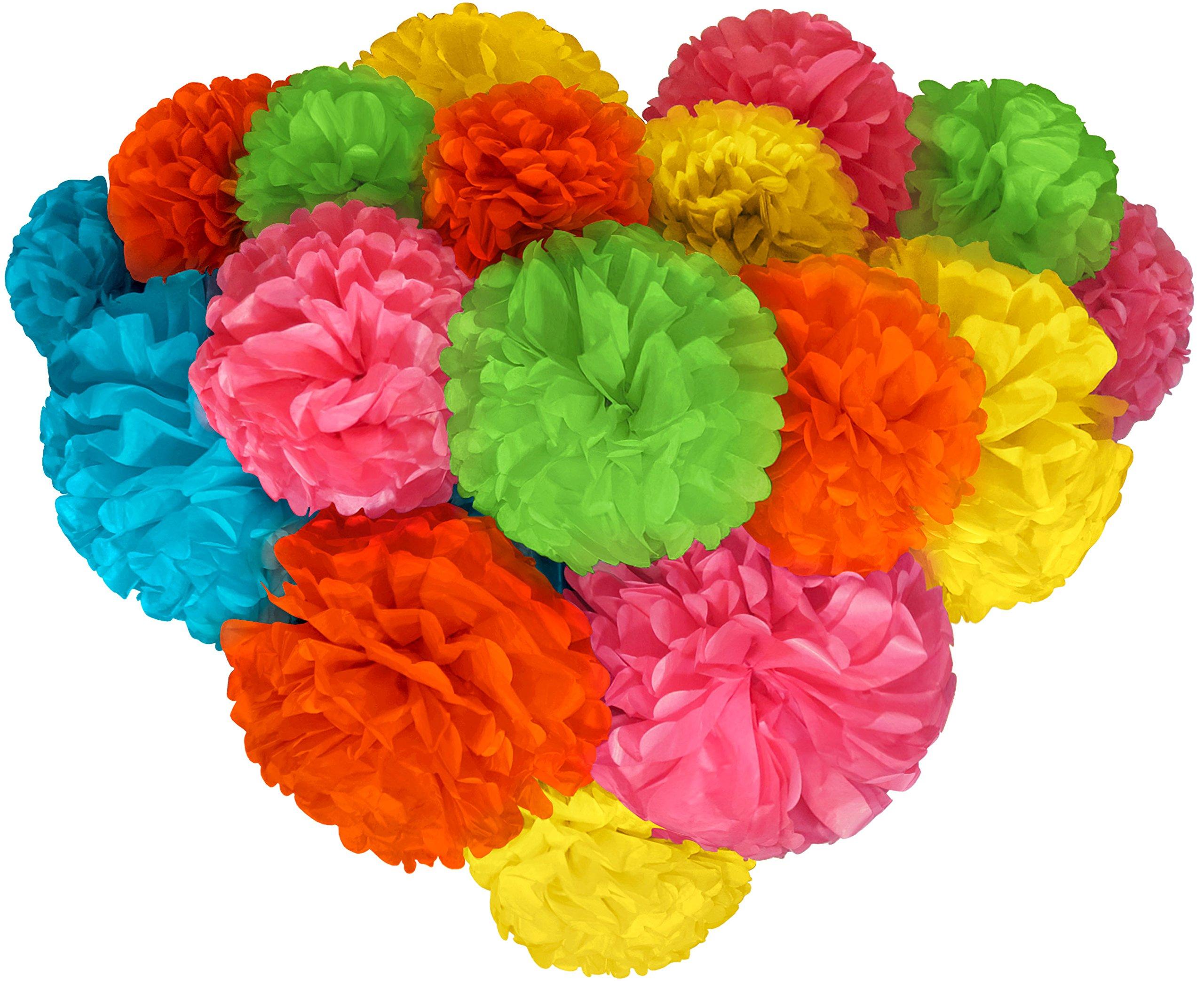 Paper Flowers Voplop Paper Pom Poms 20 pcs of 8 10 14 Inch Multi