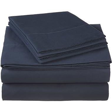 Pinzon 300 Thread Count Ultra Soft Cotton Sheet Set -Queen, Midnight Blue