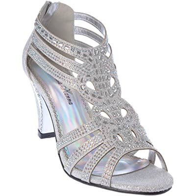 kinmi25 Womens Evening Sandal Rhinestone Dress-Shoes   Sandals