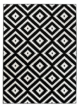 Grand - XL -Tapis de Salon Chambre - Noir Blanc - Motif Oriental avec Un  Design Contemporain - Moderne Geometrique - a Carreaux - Casablanca la ...
