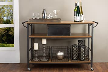 Baxton Studio Lancashire Wood and Metal Kitchen Cart, Brown