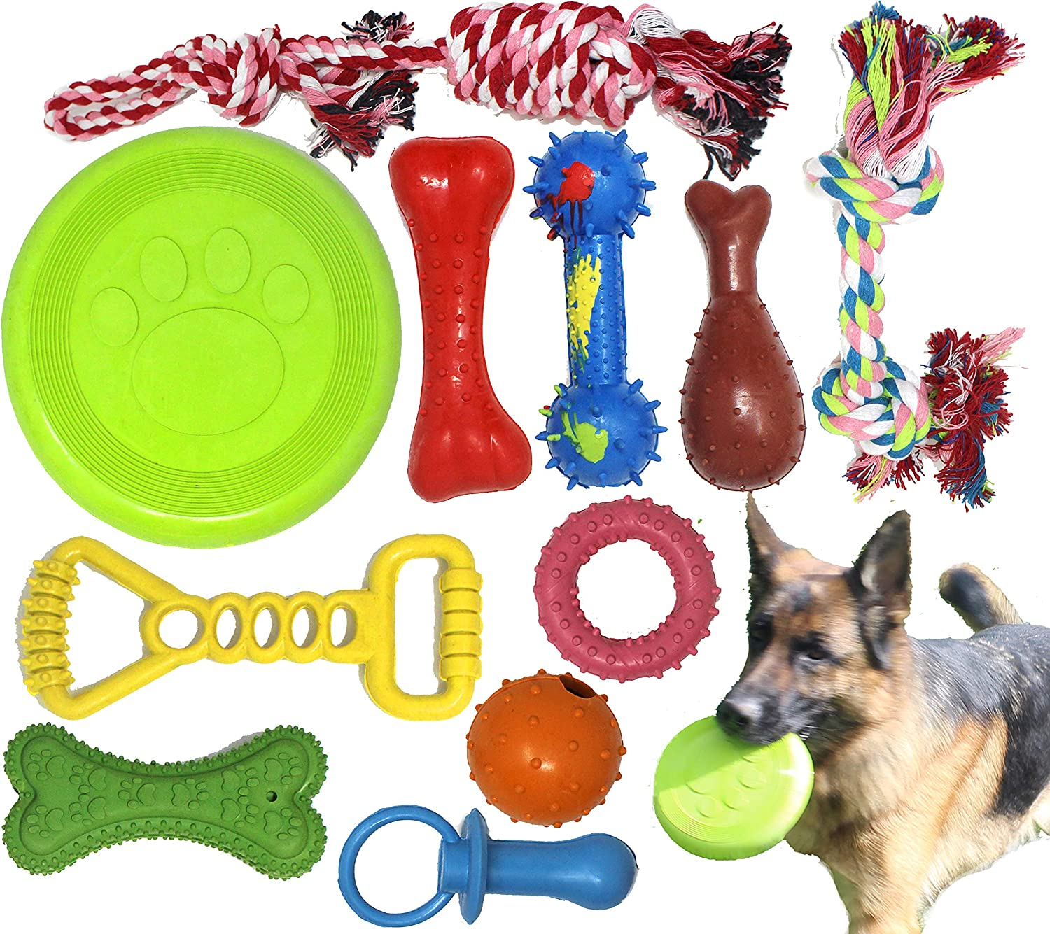Jalousie Dog Plush Toy and Rope Toy Combos Dog Squeaky Toys for Small Medium Dog Puppy Mutt