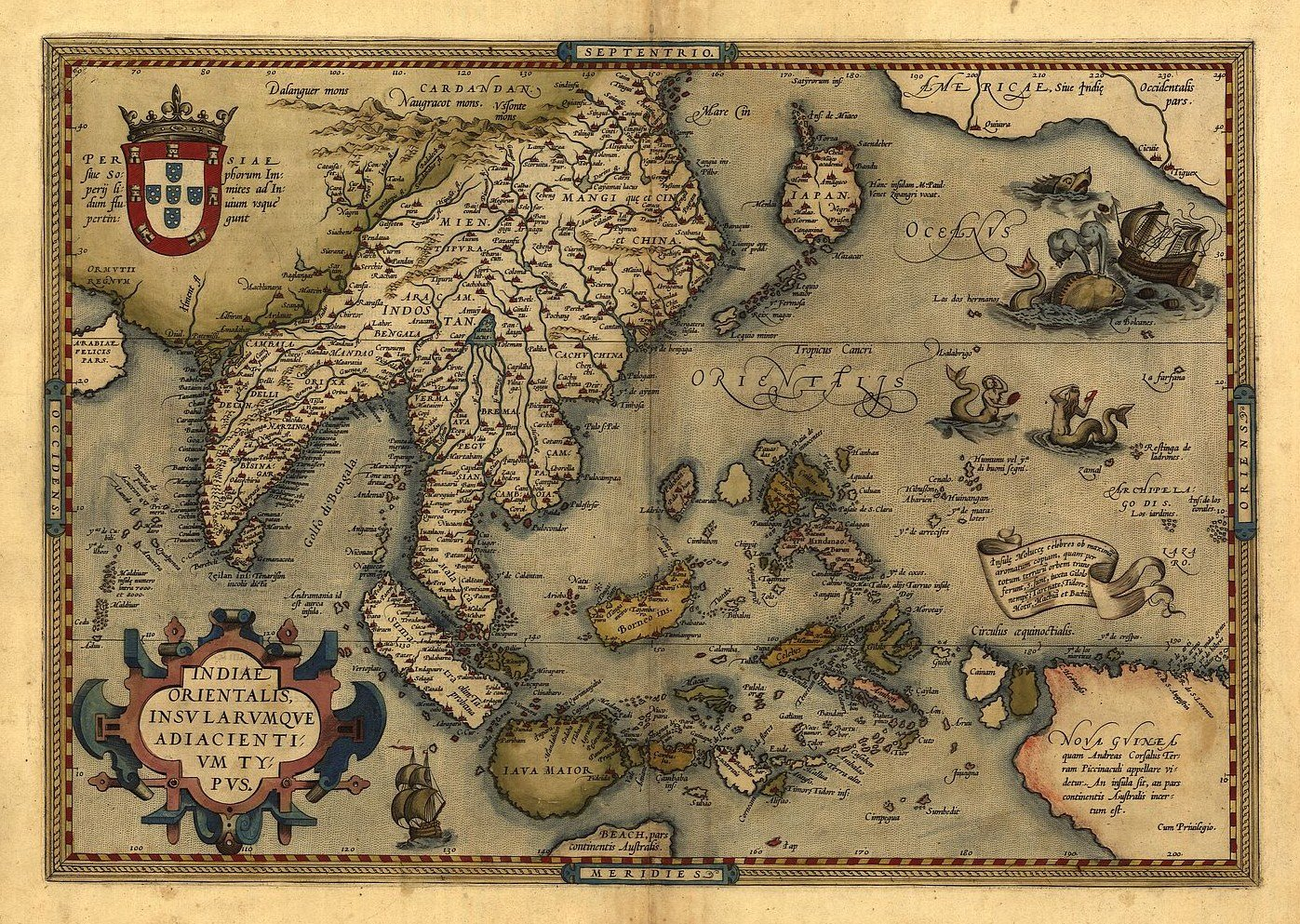 Reproduction Antique Map of Asia Japan India South East Asia