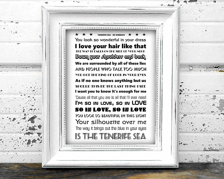 Tenerife Sea by Ed Sheeran (Monochrome) A4 Lyrics Poster: Amazon ...