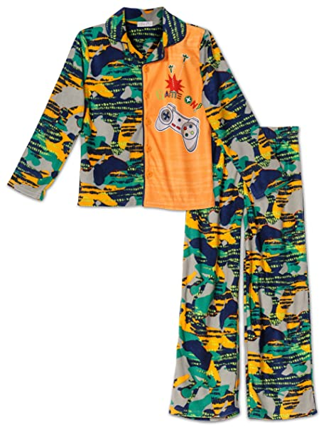 "Komar Kids Video Gamer ""Game On"" 2 Piece Coat Style Pajama Set,"