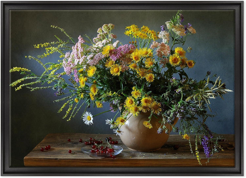 Cuadro sobre lienzo Canvas–ConKrea–Listo para colgar–Bodegón–Flores De Jarrón