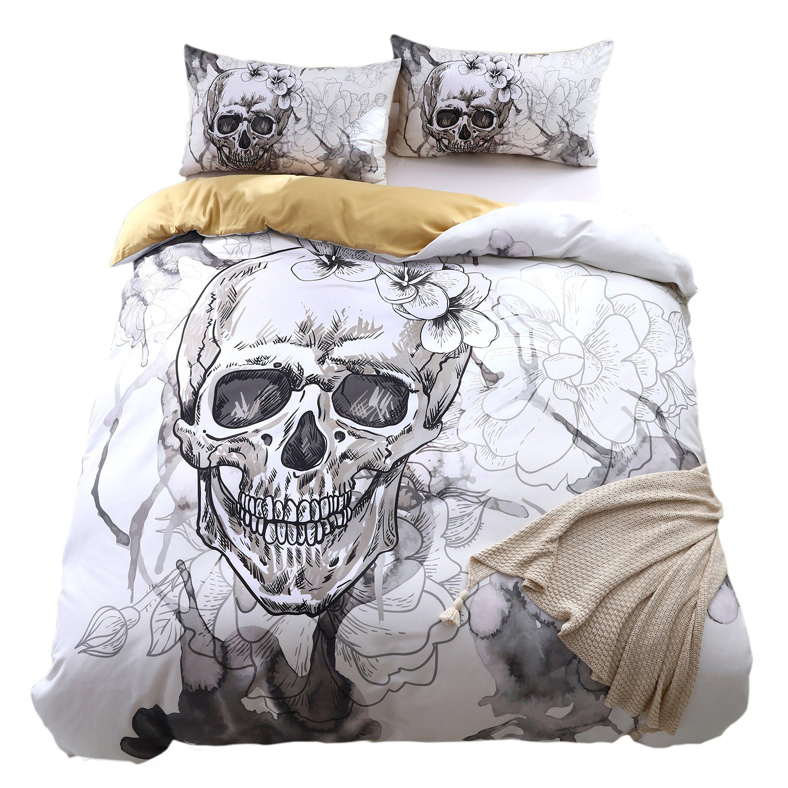 KTLRR Skull Bedding Set,Polyester Fully Modern Flower Skull Gray and Black Duvet Cover Set, Queen Size Decorative 3 Pieces Bedding with 2 Pillow Shams,No Comforter (Skull B, Queen 3pcs)