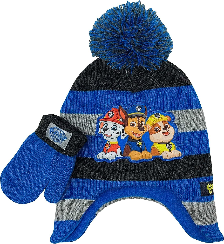 BOYS DISNEY PAW PATROL WINTER POMPOM BOBBLE HAT AND GLOVE SET GOOD QUALITY