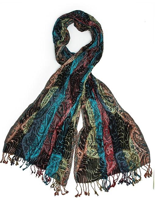 Shawls & Wraps | Vintage Lace & Fur Evening Scarves Jaladhi Pashmina Scarf Paisley Scarf Woven Pashmina $24.95 AT vintagedancer.com
