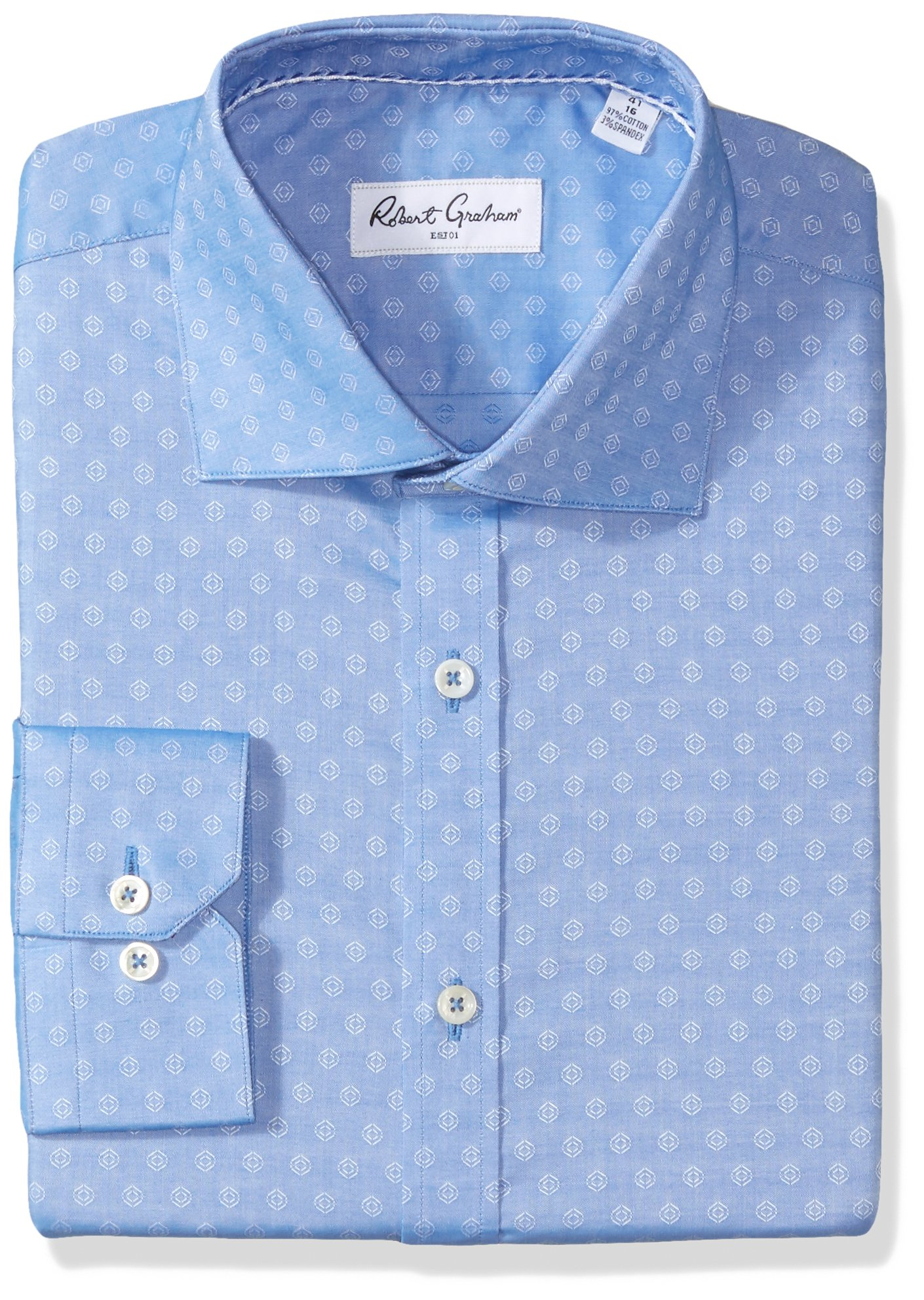 Robert Graham Men's Gene Regular Fit Solid Dress Shirt, Blue, 15.5'' Neck 35'' Sleeve