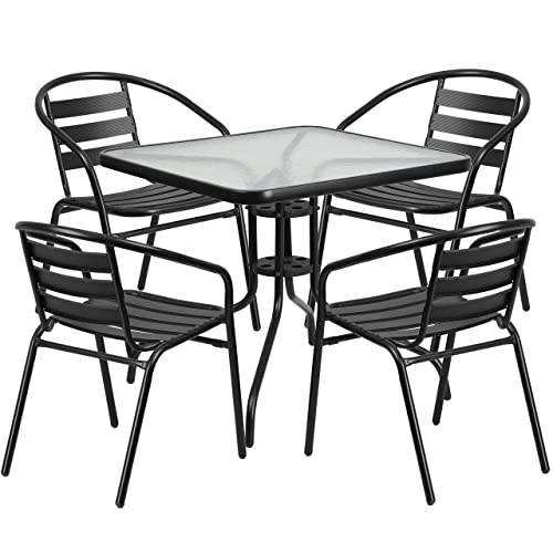 Flash Furniture 31.5 Square Glass Metal Table with 4 Black Metal Aluminum Slat Stack Chairs