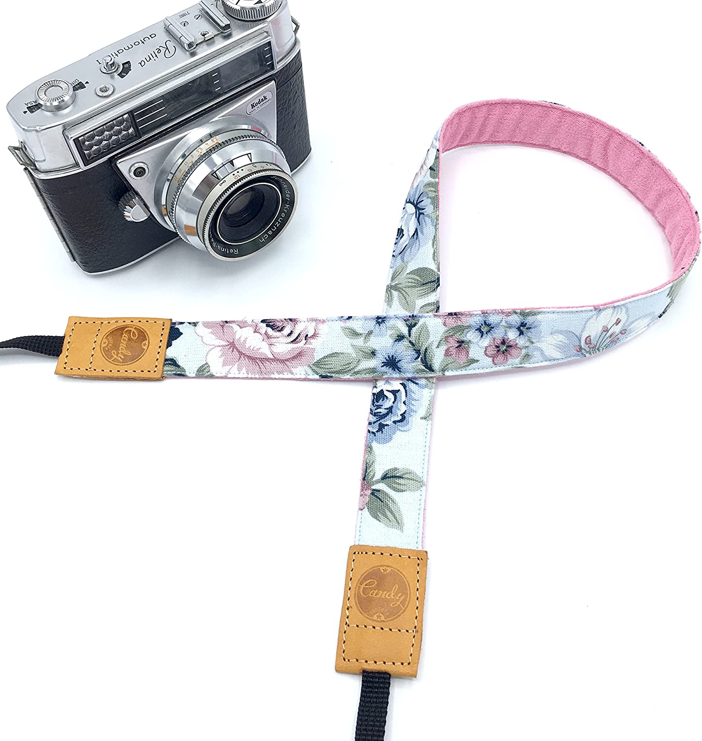 Presonalized Mini Pink Flora Camera strap,Candy Leather Mirrorless Camera Strap Genuine leather camera Strap