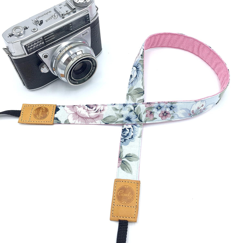 Presonalized ミニピンクフローラカメラストラップ キャンディレザーミラーレスカメラストラップ 本革カメラストラップ B07DT5XJN7