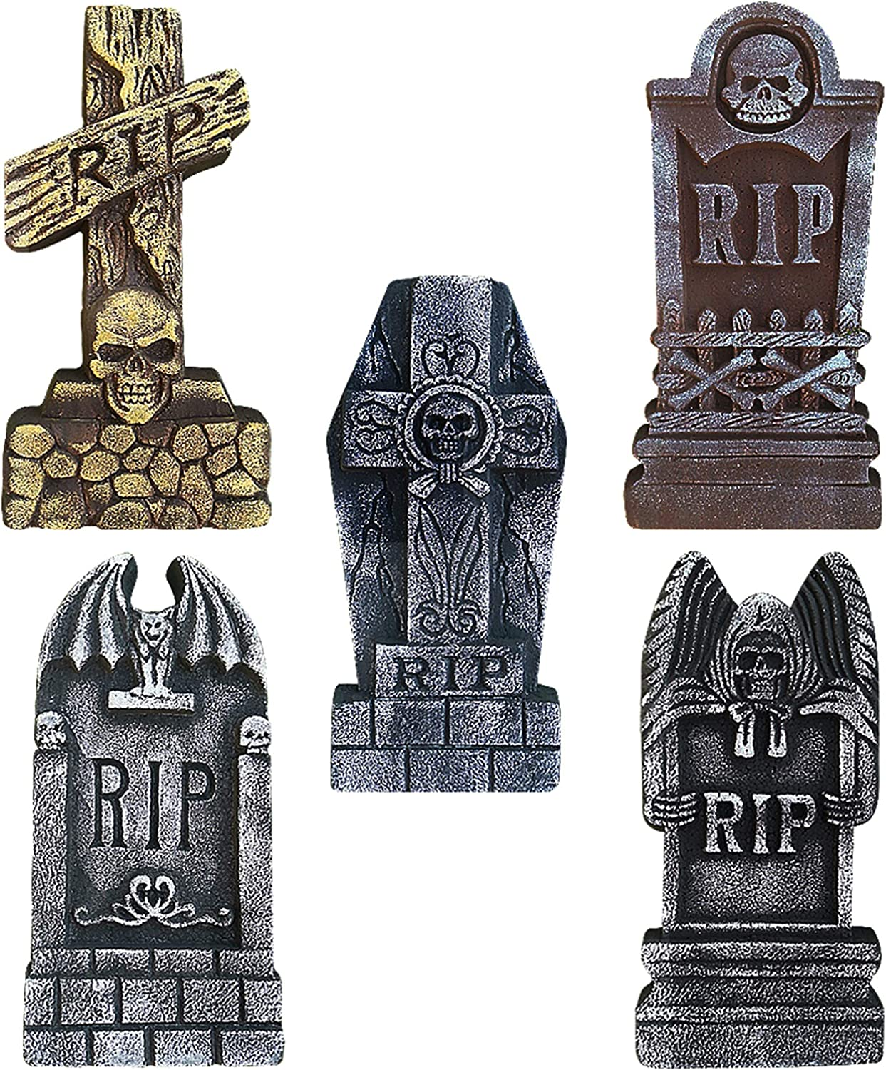 "ATDAWN 17"" Halloween Foam Graveyard Tombstones, Halloween Headstone Decorations for Halloween Yard Decorations, 5 Pack"