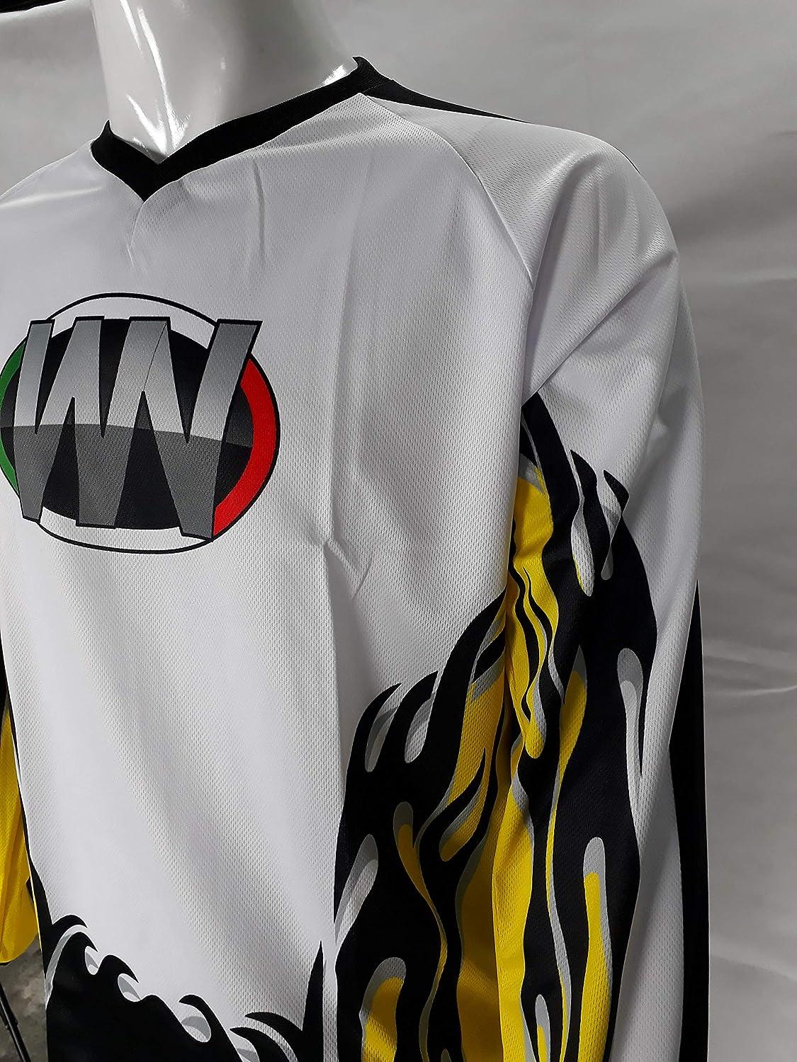 WinNet completo tuta per moto da cross o motard giallo bianco nero maglia e pantaloni 3XL