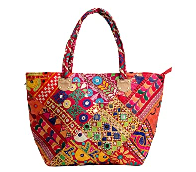 Handicraft-Palace Women s Tribal Multicolour Cotton Banjara Vintage Handmade  Boho Embroidery Shoulder Bag  Amazon.in  Shoes   Handbags 5e22be004887d