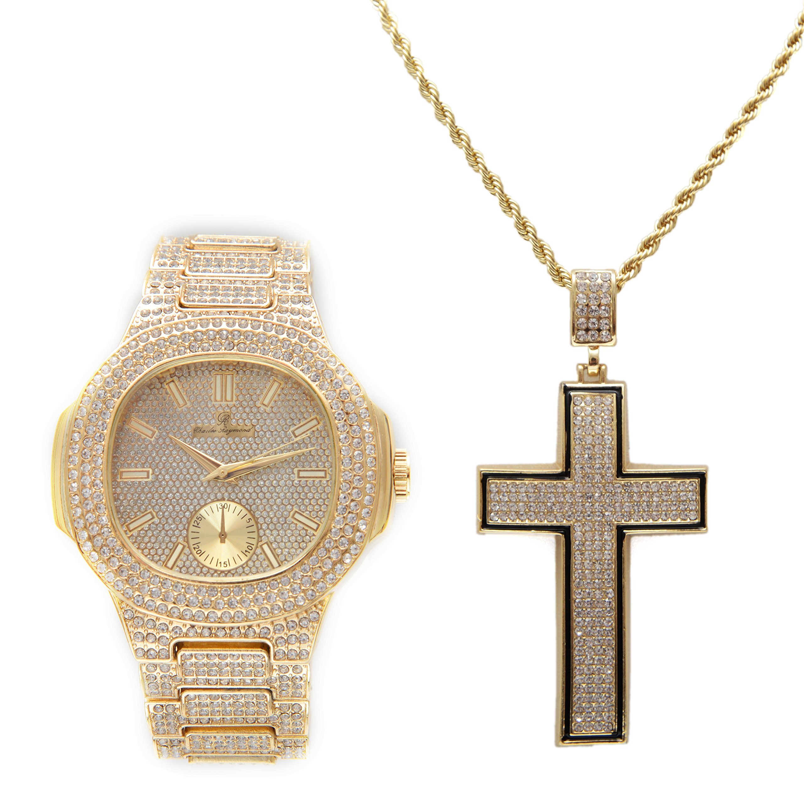 Hip Hop Big Mens Iced Out Oblong Gold Watch with Black Trim Bling Concaved Shape Cross Pendant Chain-8475C Gold