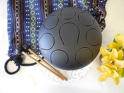 Wuyou zen yoga Pentatonic Black 5 Inch 8 note Handpan Steel Tongue Drum  Chakra