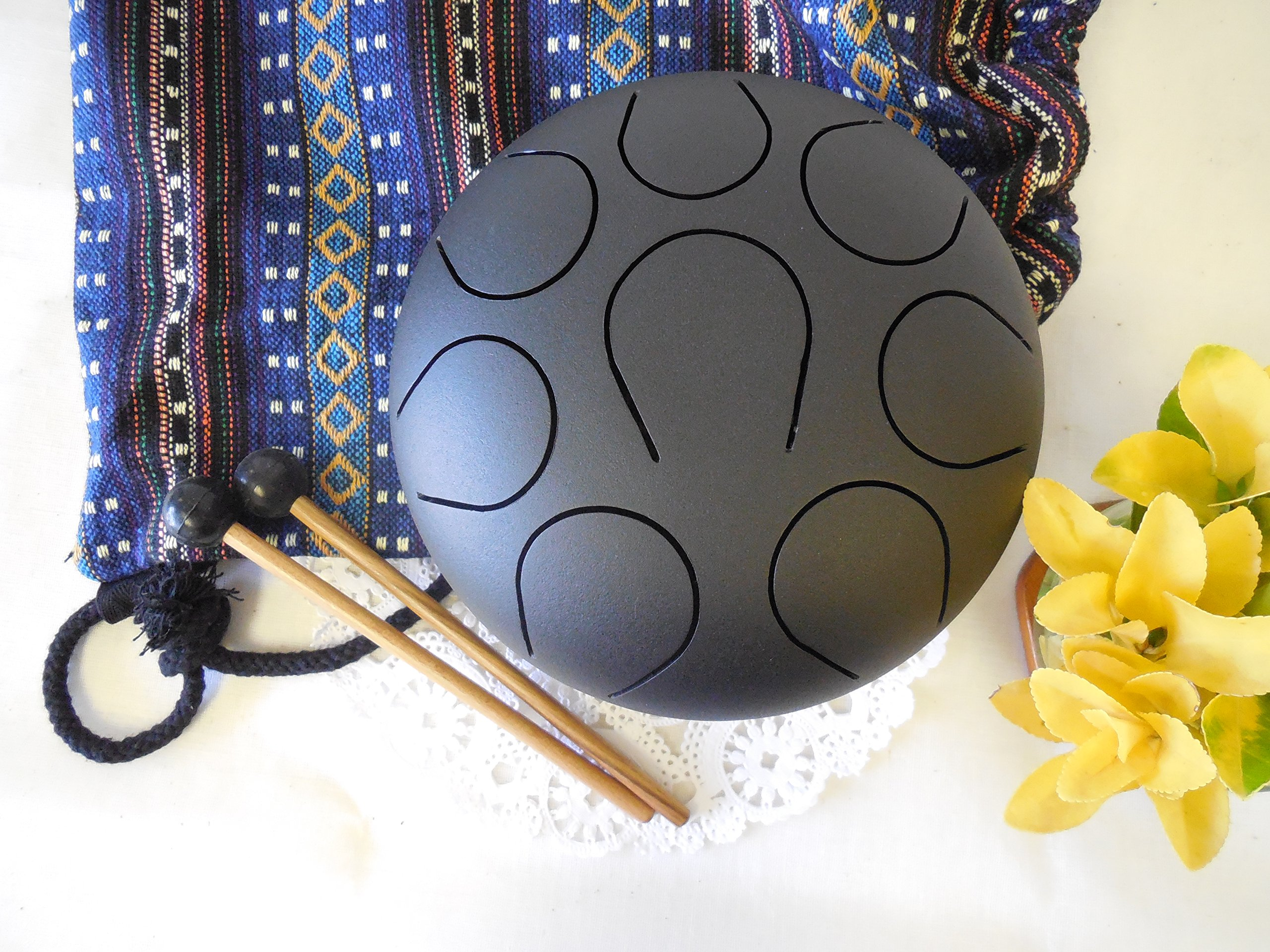 Hand Pan Drum Steel Tongue Drum, Wuyou 9in Drum, Chakra Drum, Hand Tuned Perfect Sound Healing, Birthday Gift, Black