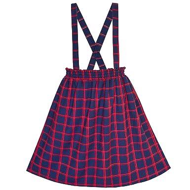 a86737b90be Sunny Fashion Robe Fille Jarretelle Jupe Tartan Plaid Arrière École 4 Ans