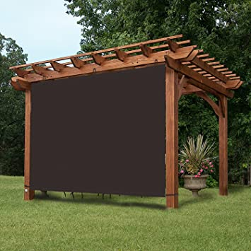 Wonderful EZ2hang Waterproof Pergola Shade Adjustable Hanging Panel For Pergola/Porch/Patio  7x6ft Coffee