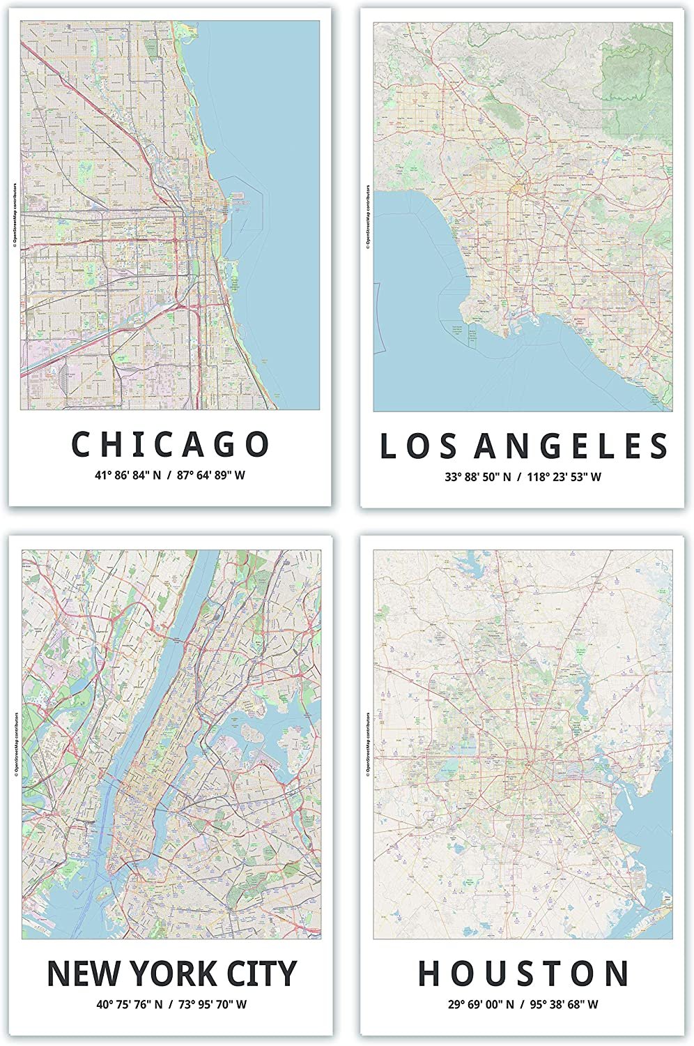 Map Posters, 11x17 Inches, Set of 4, Modern Wall Art, Major Cities of the United States, Chicago, Los Angeles, New York City, Houston, Modern Wall Decor for Home Office, Bedroom, Living Room