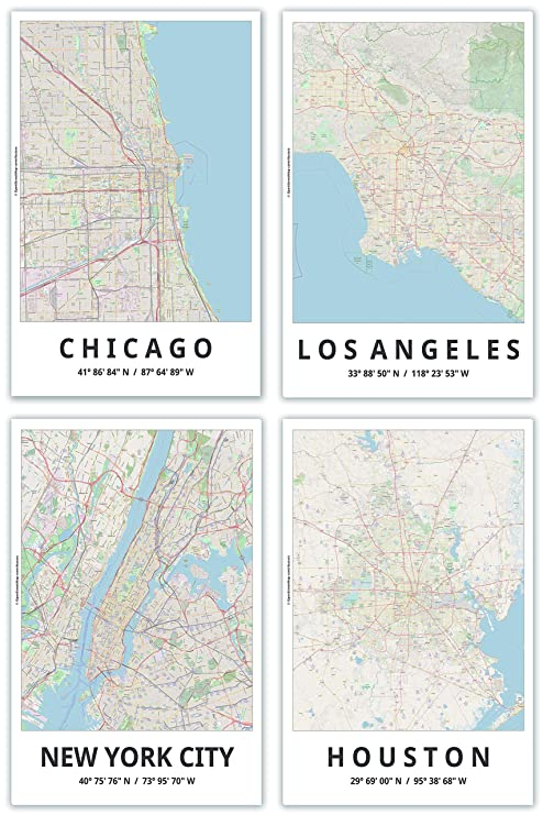 Spitzy's Map Posters, 11x17 Inches, Set of 4, Modern Wall Art, Major on chicago colorado map, chicago texas map, chicago attraction map interactive click, chicago location on map, chicago canada map, chicago green bay map, chicago seattle map, chicago death map, chicago baltimore map, chicago construction map, our us map, chicago walt disney map, chicago flag map, chicago illinois state map, chicago lawrence map, chicago wyoming map, chicago minnesota map, united center chicago map, chicago global map, chicago california map,