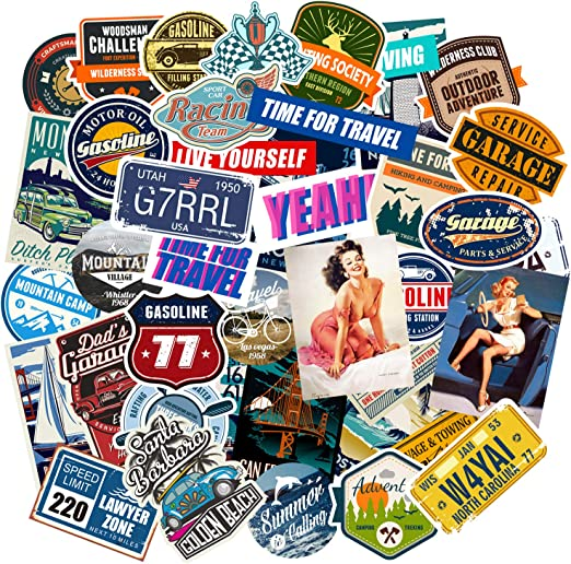 Chileeany 35 Piezas – Pegatinas Maleta, Retro Vintage Stickers ...