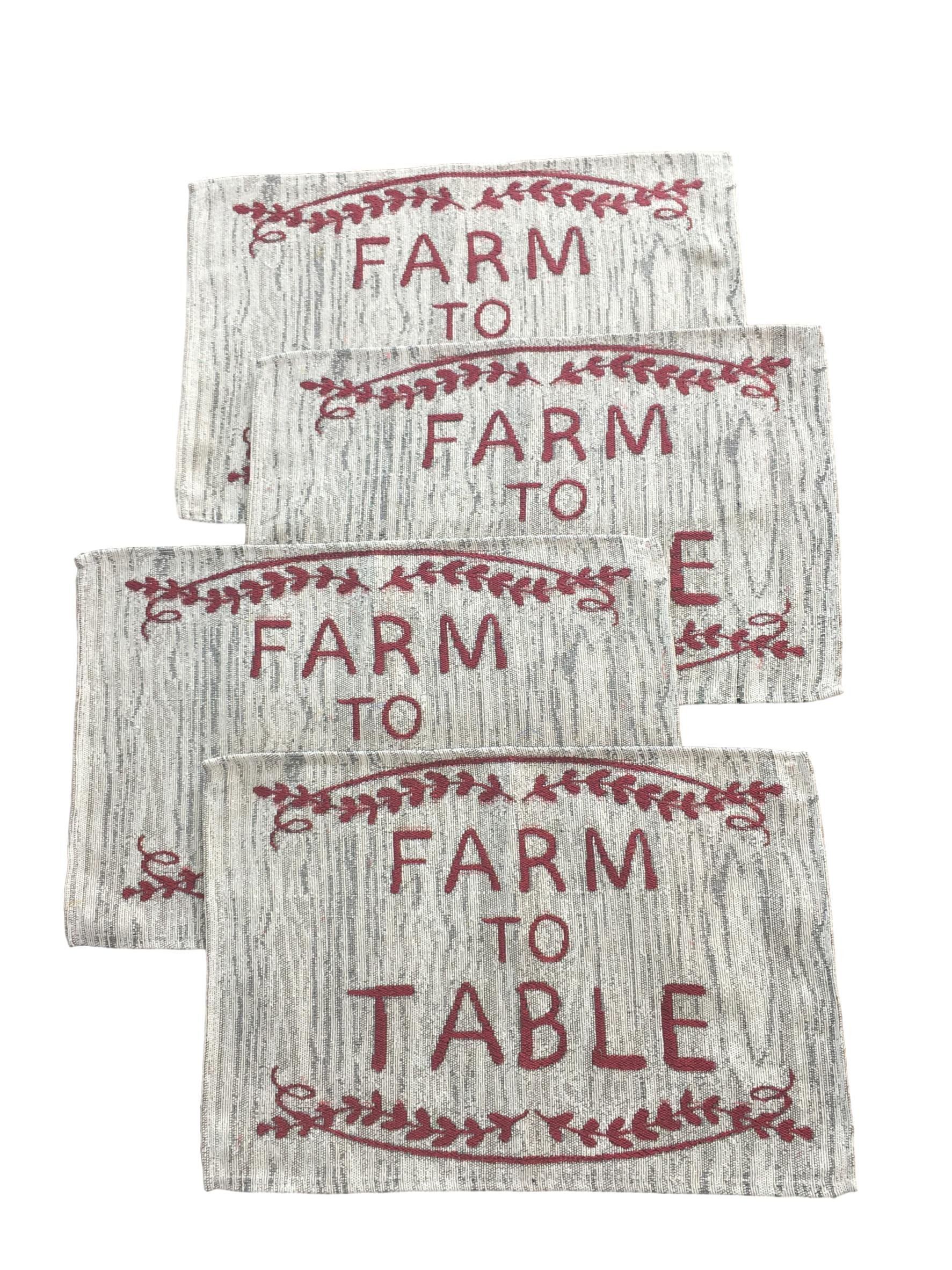 Home Concepts Farm Country Style Linen Placemats Set of 4 - Farm Fresh, Farmer's Market, Farm to Table Embellished 19 in x 13 in (Farm Fresh All Day Long Everyday)