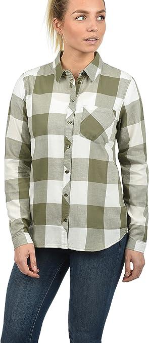 Only Rebecca Blusa Camisa Mangas Largas para Mujer con Estampado De 100% algodón, tamaño:38, Color:Cloud Dancer/Karomuster Dusy Olive: Amazon.es: Ropa y accesorios