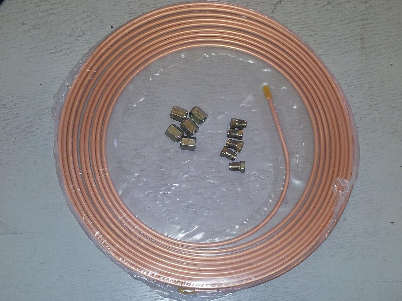Tubo de Freno de cobre 3/16 '25 ft 7, 5 m 22 G con 10 sindicatos 5m 22G con 10sindicatos Multiniche MNBP316STD10n