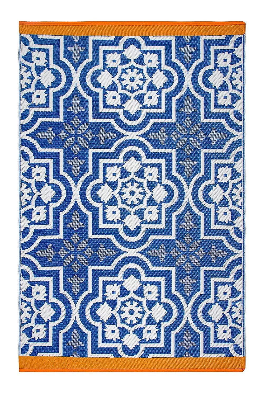 Fab Hab - Puebla - Blau - Teppich  Matte für den Innen- und Außenbereich (150 cm x 240 cm)