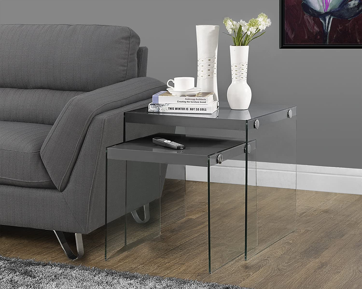 Amazon.com: Monarch Specialties I 3293,Nesting Table, Tempered Glass,  Glossy Grey: Kitchen U0026 Dining