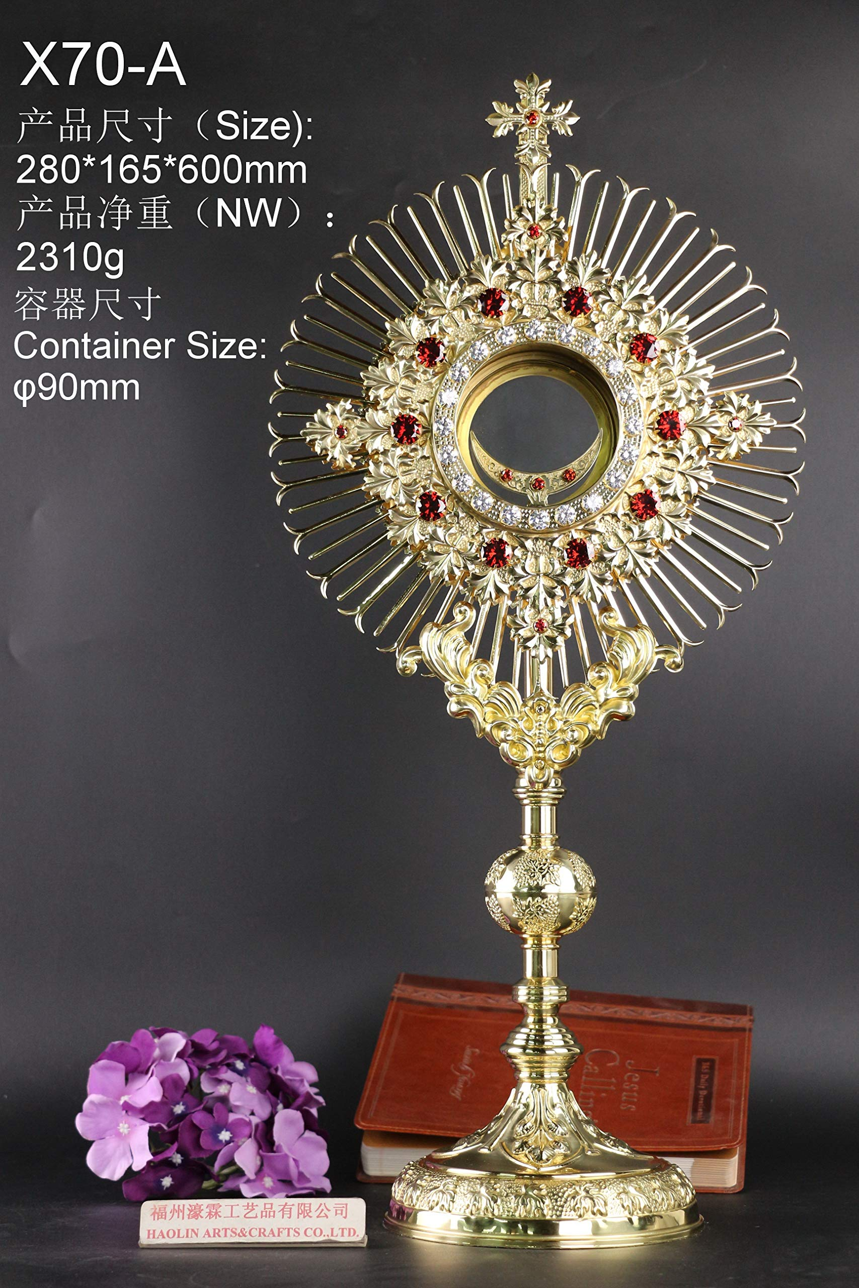 Rare Fine Monstrance with Zircon, Beautiful and Affordable! 23 3/5'' High X70-A by Generic (Image #1)