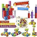 TechMagnet 6 Sided Building Bricks   Multilink Snap Cube Building Blocks   Mathlink Cubes   Math Manipulatives   Educational Multi Linking Cubes   Interlocking Cubes   Best Gift for Children 3+